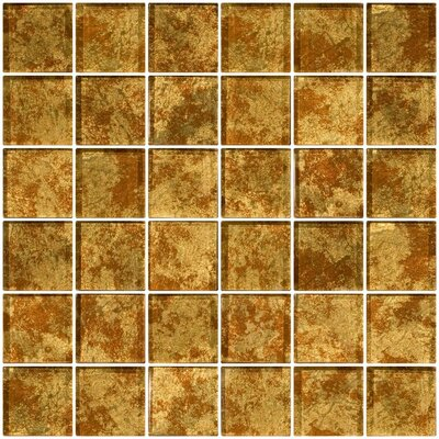2 x 2 Glass Mosaic Tile in Patina Bronze