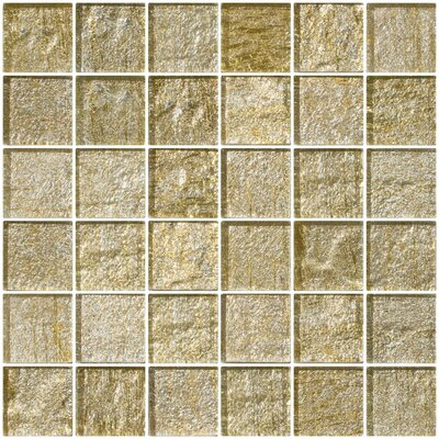2 x 2 Glass Mosaic Tile in Gold/Silver