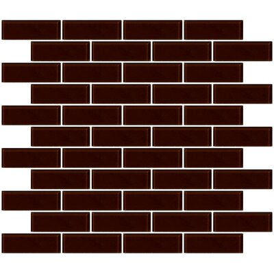1 x 3 Glass Subway Tile in Glossy Brown