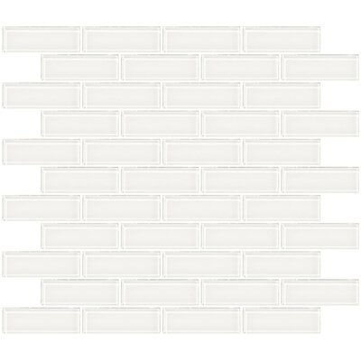 1 x 3 Glass Subway Tile in Super White