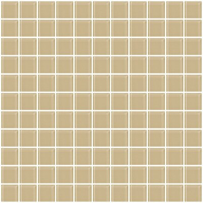 1 x 1 Glass Mosaic Tile in Wheat Brown
