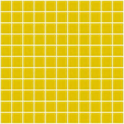 1 x 1 Glass Mosaic Tile in Bright Yellow