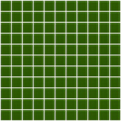 1 x 1 Glass Mosaic Tile in Glossy Dark green