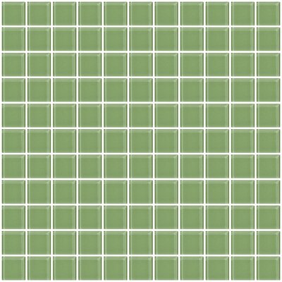 1 x 1 Glass Mosaic Tile in Light Sage Soft Green