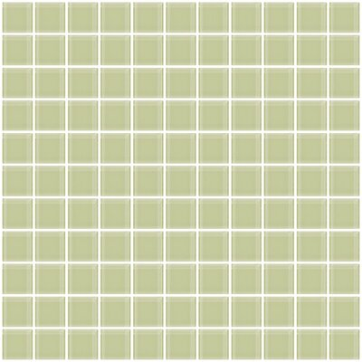 1 x 1 Glass Mosaic Tile in Light Green