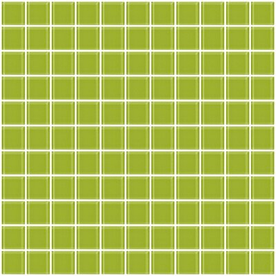 1 x 1 Glass Mosaic Tile in Glossy Lime green