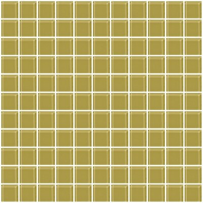 1 x 1 Glass Mosaic Tile in Light Olive Green