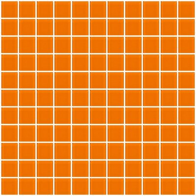 1 x 1 Glass Mosaic Tile in Glossy Orange
