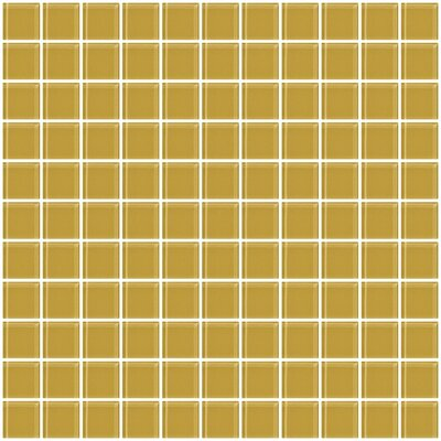 1 x 1 Glass Mosaic Tile in Honey Brown