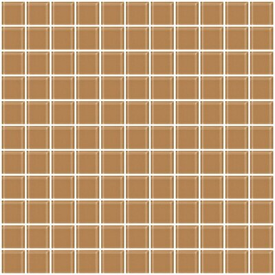 1 x 1 Glass Mosaic Tile in Mushroom Brown