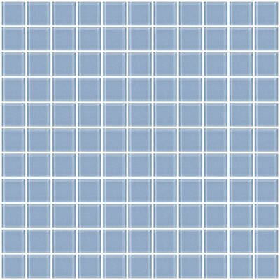 1 x 1 Glass Mosaic Tile in Pale Sky Blue