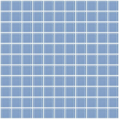 1 x 1 Glass Mosaic Tile in Light Periwinkle Blue