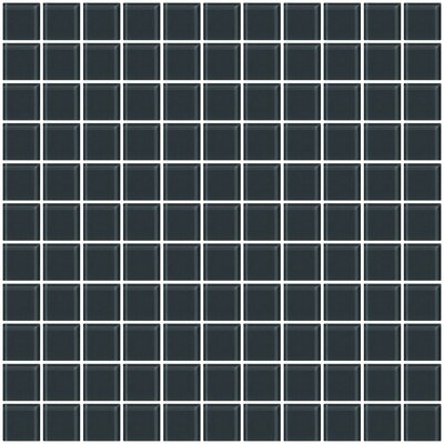 1 x 1 Glass Mosiac Tile in Dark Gray (Set of 2)