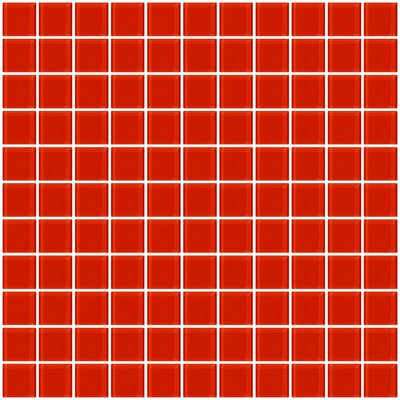 1 x 1 Glass Mosaic Tile in Tomato Red