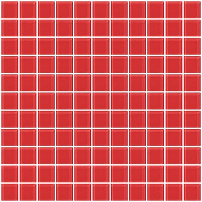 1 x 1 Glass Mosaic Tile in Watermelon Pink