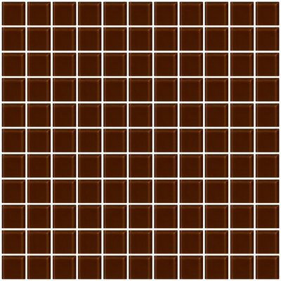 1 x 1 Glass Mosaic Tile in Glossy Brown