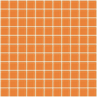 1 x 1 Glass Mosaic Tile in Apricot Orange