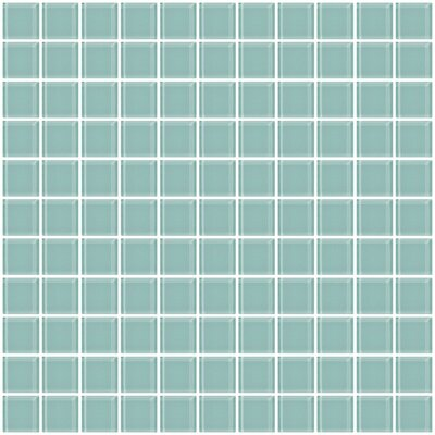 1 x 1 Glass Mosaic Tile in Light Aqua Blue