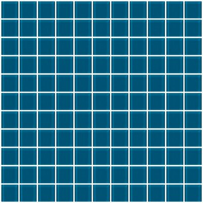 1 x 1 Glass Mosaic Tile in Deep Turquoise Blue