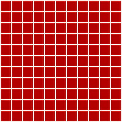 1 x 1 Glass Mosaic Tile in Deep Tomato Red