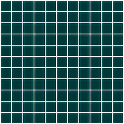 1 x 1 Glass Mosaic Tile in Teal Green