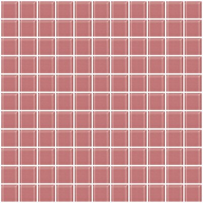 1 x 1 Glass Mosaic Tile in Mauve Pink
