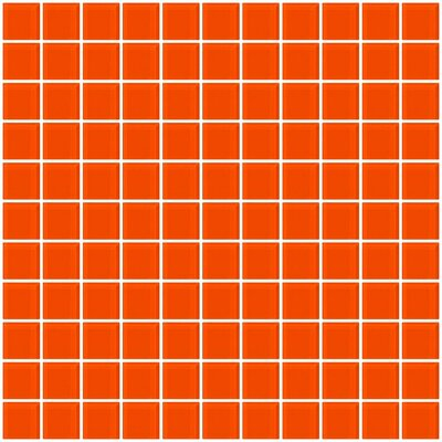 1 x 1 Glass Mosaic Tile in Bright Orange