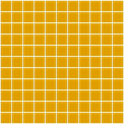 1 x 1 Glass Mosaic Tile in Dark Yellow