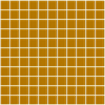 1 x 1 Glass Mosaic Tile in Glossy Caramel brown