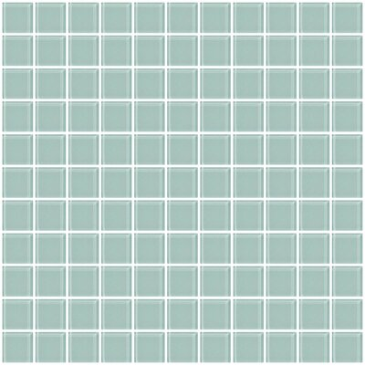 1 x 1 Glass Mosaic Tile in Pale Aqua Blue