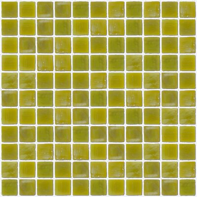 Architects Overstock Iridescent 1 x 1  Glass Mosaic Tile in Chartreuse