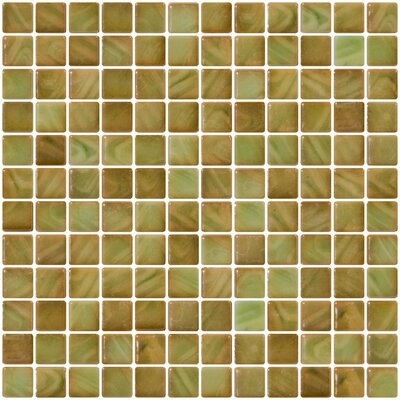 Architects Overstock Iridescent 1 x 1 Recycle Glass Mosaic Tile in Onyx Green