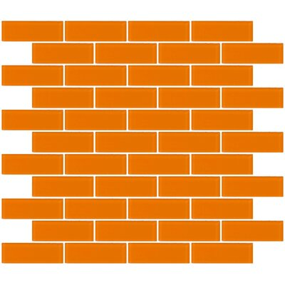 Architects Overstock  Frosted 1 x 3 Glass Subway Tile in Orange