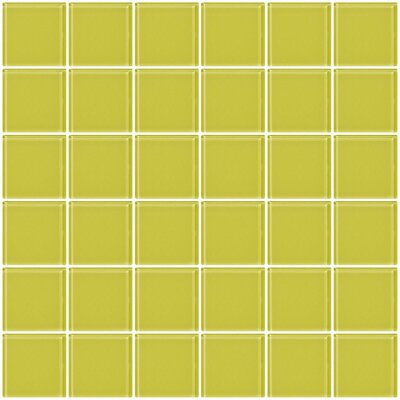 Architects Overstock 2 x 2 Glass Mosaic Tile in Light Lime Green