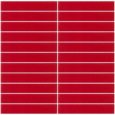 Architects Overstock Frosted 1 x 6 Glass Subway Tile in Red