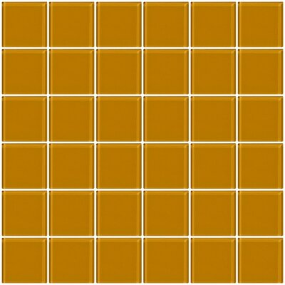 Bijou 22 2 x 2 Glass Mosaic Tile in Light Peach Beige Brown