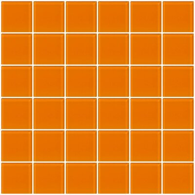 Bijou 22 2 x 2 Glass Mosaic Tile in Orange