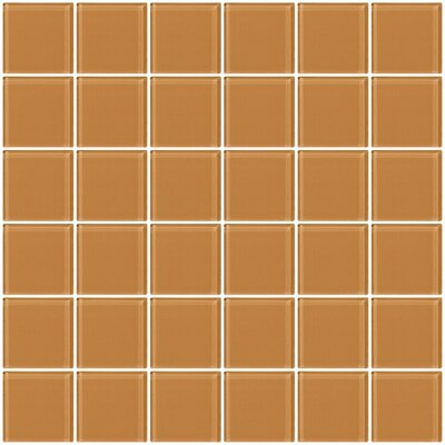 Bijou 22 2 x 2 Glass Mosaic Tile in Peach Beige Brown