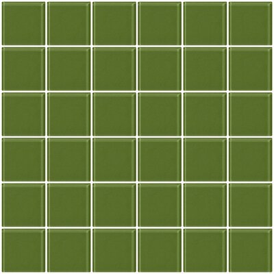 Bijou 22 2 x 2 Glass Mosaic Tile in Sage Green