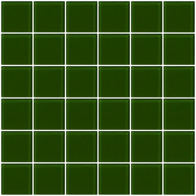 Bijou 22 2 x 2 Glass Mosaic Tile in Medium Dark Green