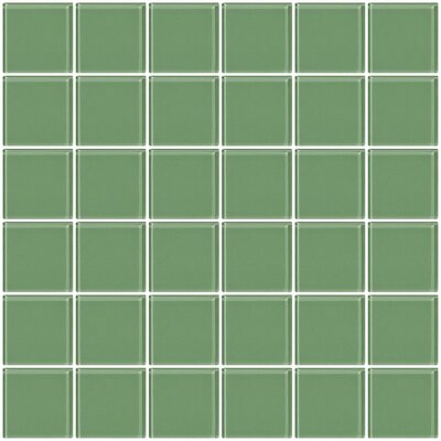 Bijou 22 2 x 2 Glass Mosaic Tile in Light Sage Green