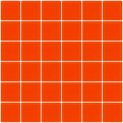 Bijou 22 2 x 2 Glass Mosaic Tile in Bright Orange