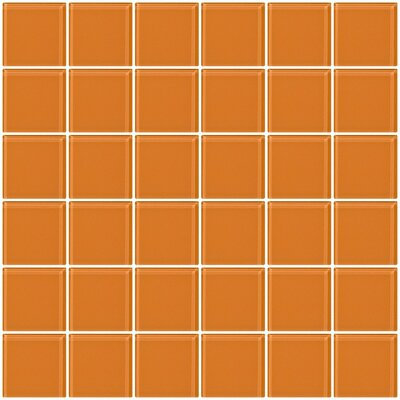 Bijou 22 2 x 2 Glass Mosaic Tile in Apricot Orange