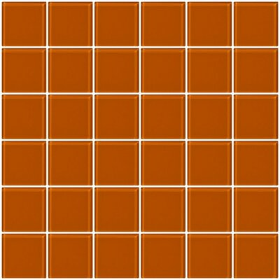 Bijou 22 2 x 2 Glass Mosaic Tile in Retro Orange