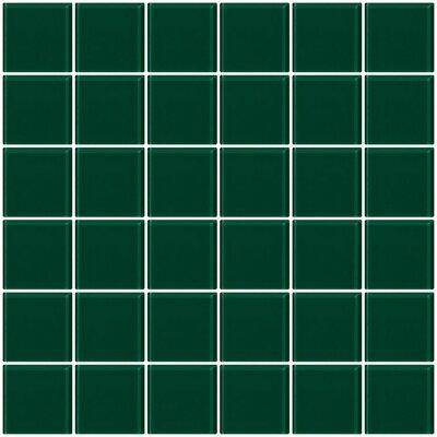Bijou 22 2 x 2 Glass Mosaic Tile in Emerald Teal Green