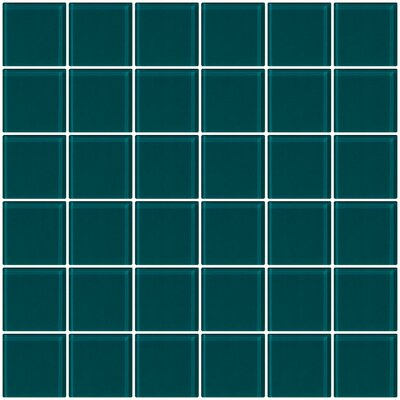 Bijou 22 2 x 2 Glass Mosaic Tile in Deep Teal Green
