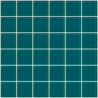 Bijou 22 2 x 2 Glass Mosaic Tile in Medium Teal Green