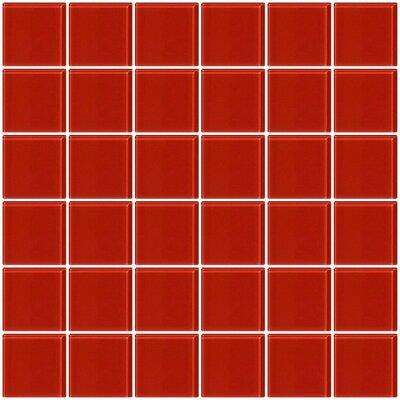 Bijou 22 2 x 2 Glass Mosaic Tile in Red Brick