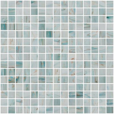 Architects Overstock Marbled 0.75 x 0.75 Glass Mosaic Tile in Glossy Aqua blue, gold and copper