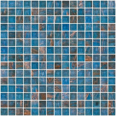 Architects Overstock Marbled 0.75 x 0.75 Glass Mosaic Tile in Transparent Blue